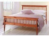 King Size Bed Wood Frame - Used 5ft Shaker Caramel