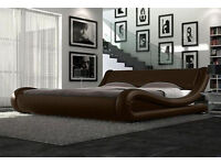 NEW Stylish curved italian style bed - double / king, Dark brown, black or white