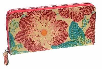 Women's Genuine Leather Clutch Zip Around Flowers Wallet Credit Card Holder