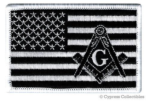 MASONIC LOGO BLACK FLAG EMBROIDERED PATCH iron-on FREEMASON SQUARE COMPASS MASON