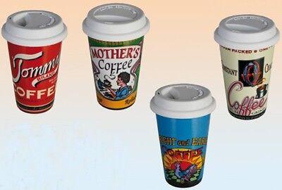 Kaffeebecher To Go American Diner groß mit Deckel USA Amerika Tasse 50ies 50er (Tasse Mit Deckel)