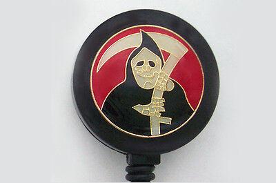GRIM REAPER GOTH Retractable Reel ID Card Badge Holder/Key Chain Ring EMO
