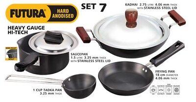 Hawkins Futura H/A Cookware Set Wok Kadai 2.75Ltr Sauce Pan