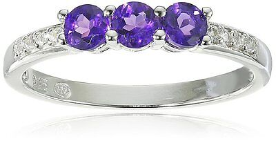 Sterling Silver 3 stone Genuine Amethyst and Created White Sapphire Ring, Size 7 - Genuine Sapphire 3 Stone Ring
