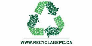 Recyclage informatique cueillette gratuit Montreal rive sud et rive nord destruction de données certifiées