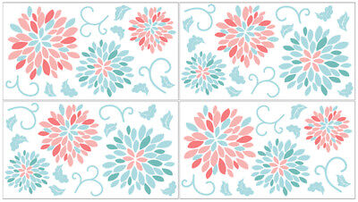 Turquoise Room Ideas (Sweet Jojo Girl Turquoise Coral Floral Bedding Wall Art Decal Sticker Room)