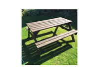 Wooden garden picnic bench table chair set patio furniture