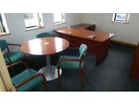 Dark Wood Office Set Chairs Desk Storage