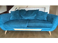 DFS teal sofa and chair set