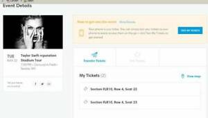 TAYLOR SWIFT Seattle VIP Tickets $375USD Each