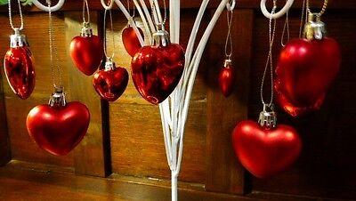 "NEW 12 SHINY + SATIN RED 1 1/2"" HEART VALENTINE ORNAMENTS FEATHER TREE MOLDED"