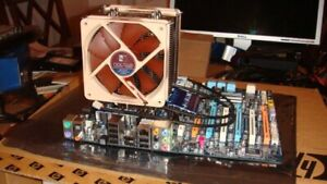 Gigabyte X-58 Mainboard with CPU, Noctua Fan, and 6GB DDR3