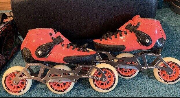 Luigino Strut Inline Speed Skates Neon Pink bundle - size 6 Nike Bag Razor Pads