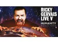 2 x Ricky Gervais Humanity Tour- Plymouth Tickets x 2 SOLD OUT