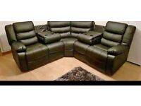292 NEW 3 AND 2 SEATER LEATHER RECLINER SOFA