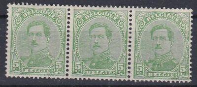 Belgique 1915 137 ** bande horizontale de 3  Roi Albert I 5 c vert-jaune