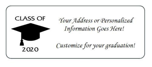 60 Personalized Class of 2020 Graduation Return Address Labels