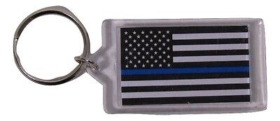 USA American Police Thin Blue Line Memorial Back Blue Two Sided Key Chain Ring