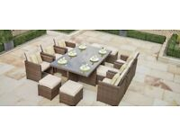 garden furniture dining set. one dinning table, 4 chairs, 4 footstool no glass