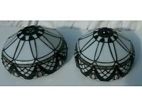 Pair of leaded glass lampshades