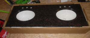 New Anitque brown Granite vanity counter top with 2 sinks