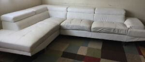 White sectional couch - left facing