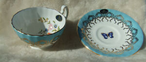 Aynsley Cottage Garden Turquoise Tea Cup & Saucer Bone China