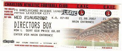 Ticket - Charlton Athletic Reserves v Leicester City Reserves 21.08.02