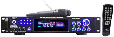 2 MICS PYLE 3000W PRE AMP AMPLIFIER DJ KARAOKE DUAL WIRELESS MICROPHONE SYSTEM