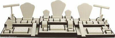 35-piece Jewelry Display Showcase Collection Set - Tanbrown