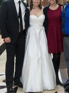Ella Rosa Strapless Off-White Wedding Dress - Cleaned
