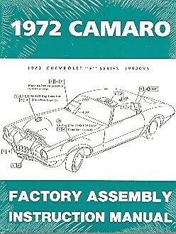 1972 72 Camaro Factory Assembly Manual