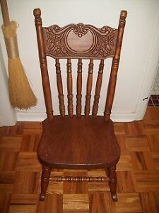 ANTIQUE CHILDS PRESS BACK ROCKING CHAIR BEAUTIFUL FINISH
