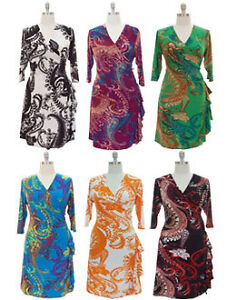 Plus-size-ruffle-faux-wrap-dress-3-4-sleeve-surplice-v-neck-1X-2X-3X-6-prints