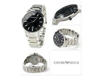 EMPORIO ARMANI AR2457 BLACK DIAL SILVER STAINLESS STEEL MEN'S WATCH