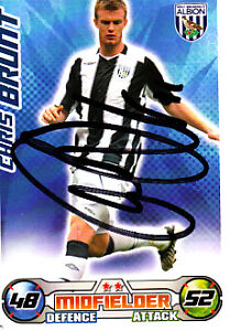 West Bromwic Albion F.C Chris Brunt Hand Signed 08/09 Championship Match Attax.