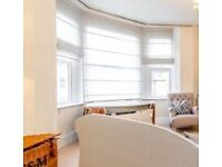 Sheer Linen Roman Blinds for Bay window