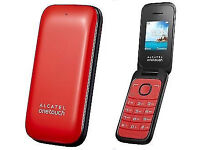Alcatel 1035x Unlocked Sim Free 2G Red Flip Clam Shell Mobile Phone NEW Exp Memory MP3 Player