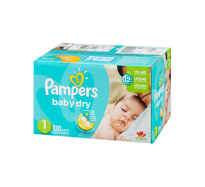 Couches Pampers baby dry grandeur 1 - boite 120