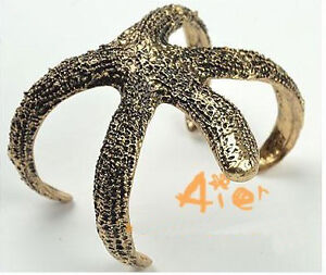 New Design Fashion Vintage Retro Bronze Metal Starfish Cuff Bangle Bracelet