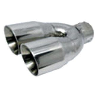 Exhaust Tip Stainless Steel Round Rolled Edge Angle Cut Dual Polished Exhaust Dual Round Rolled Angle Cut