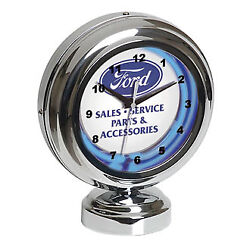 Ford Clock Tabletop Blue Neon Authorized Sales & Service Graphics FRD-46600