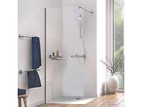 Aqualux Edge 6 Frameless Wetroom Glass Panel Polished Silver 800 x 2000mm