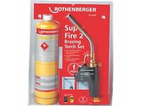 ROTHENBERGER SUPER FIRE 2 GAS BLOW TORCH & MAP PRO GAS CYLINDER