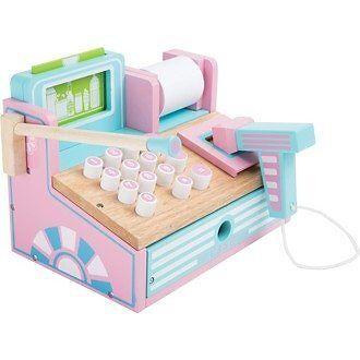 Registratore di cassa in legno per negozio gioco per bambini Legler 3125