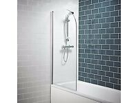 Bath Screen Curved Edge Silver / Clear 780x1400mm