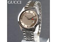 Mens genuine Brand new Gucci YA126310 CHAMPAGNE GOLD/BROWN