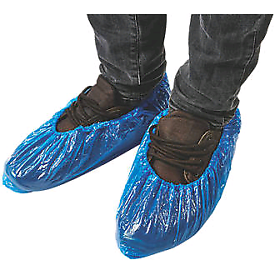 Blue disposable over shoes