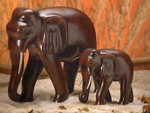 Elefanten 2er Set Glückselefant Skulptur Statue Afrika Asia Asien Holz Deko NEU