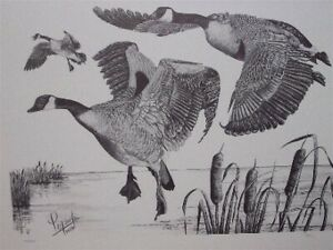 ORIGINAL PRINT...BIRDS / GEESE IN FLIGHT...FOR THE COTTAGE!!
